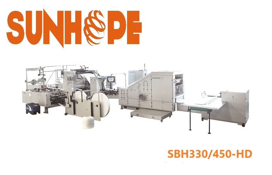 33kw Flat Bottom Handles Carry Paper Pouch Making Machine