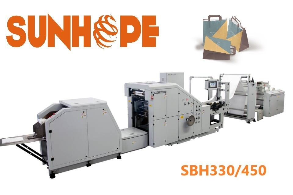 450mm Face SUNHOPE Paper Shopping Block Bottom Bag Making Machine