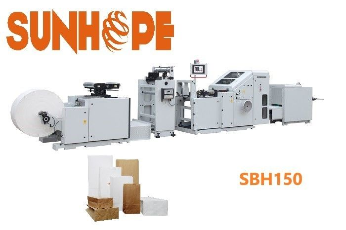8.75kw Block Bottom Carry Kraft Bags Sunhope Paper Bag Machine